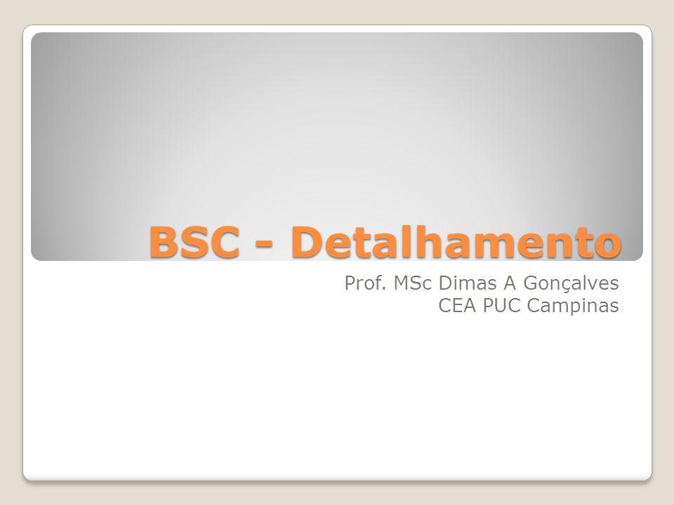 BSC - Detalhamento Prof. MSc Dimas A Gonçalves CEA PUC Campinas