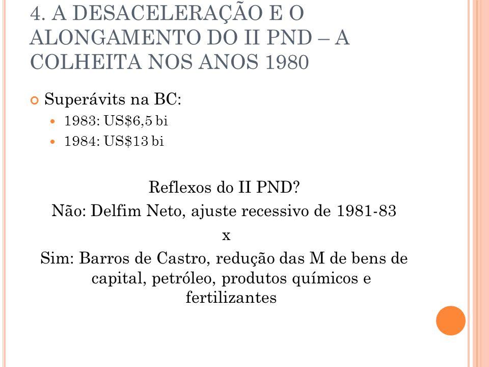 4. A DESACELERAÇÃO E O ALONGAMENTO DO II PND – A COLHEITA NOS ANOS 1980 Superávits na BC: 1983: US$6,5 bi 1984: US$13 bi Reflexos do II PND? Não: Delf