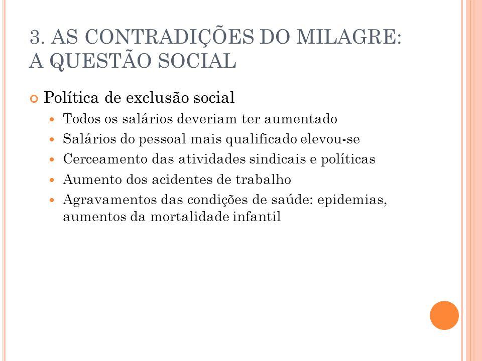 3. AS CONTRADIÇÕES DO MILAGRE: A QUESTÃO SOCIAL Política de exclusão social Todos os salários deveriam ter aumentado Salários do pessoal mais qualific