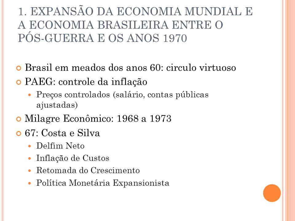 1. EXPANSÃO DA ECONOMIA MUNDIAL E A ECONOMIA BRASILEIRA ENTRE O PÓS-GUERRA E OS ANOS 1970 Brasil em meados dos anos 60: circulo virtuoso PAEG: control