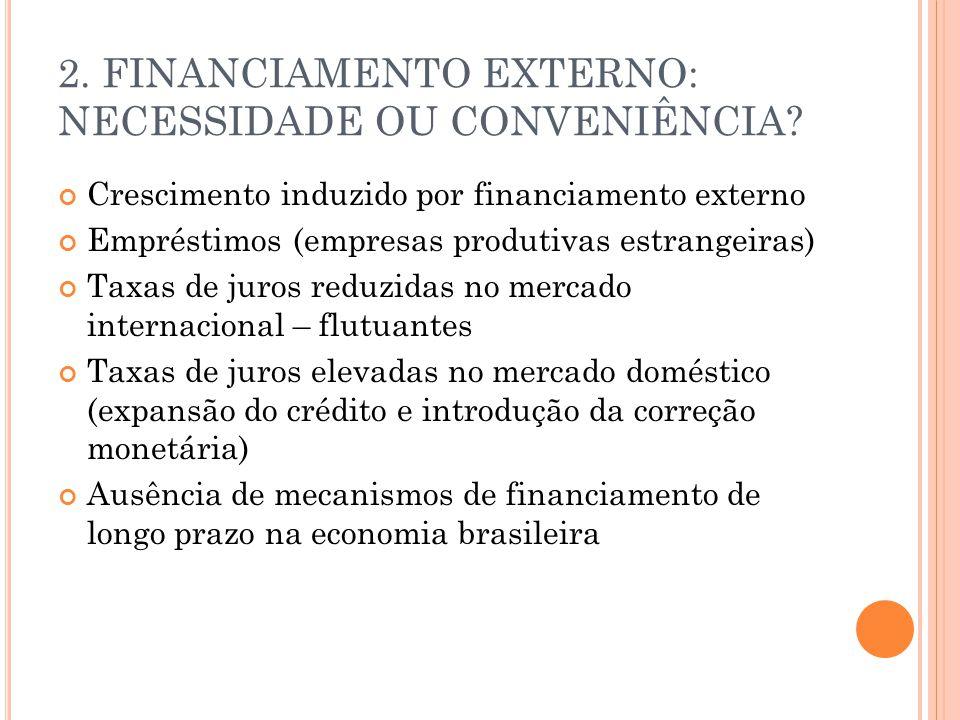 2.FINANCIAMENTO EXTERNO: NECESSIDADE OU CONVENIÊNCIA.