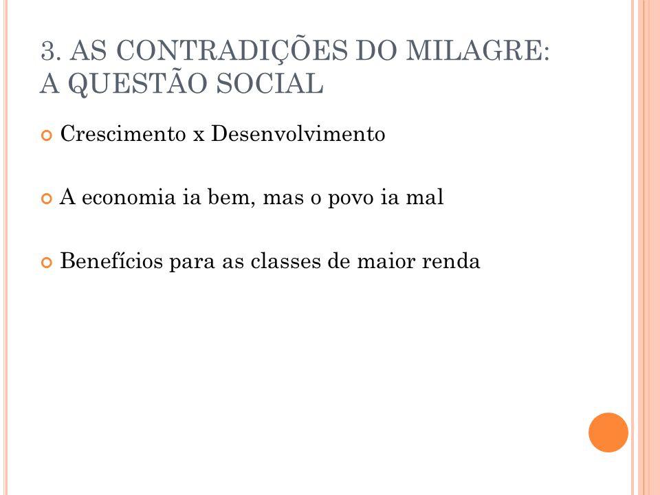 3. AS CONTRADIÇÕES DO MILAGRE: A QUESTÃO SOCIAL Crescimento x Desenvolvimento A economia ia bem, mas o povo ia mal Benefícios para as classes de maior