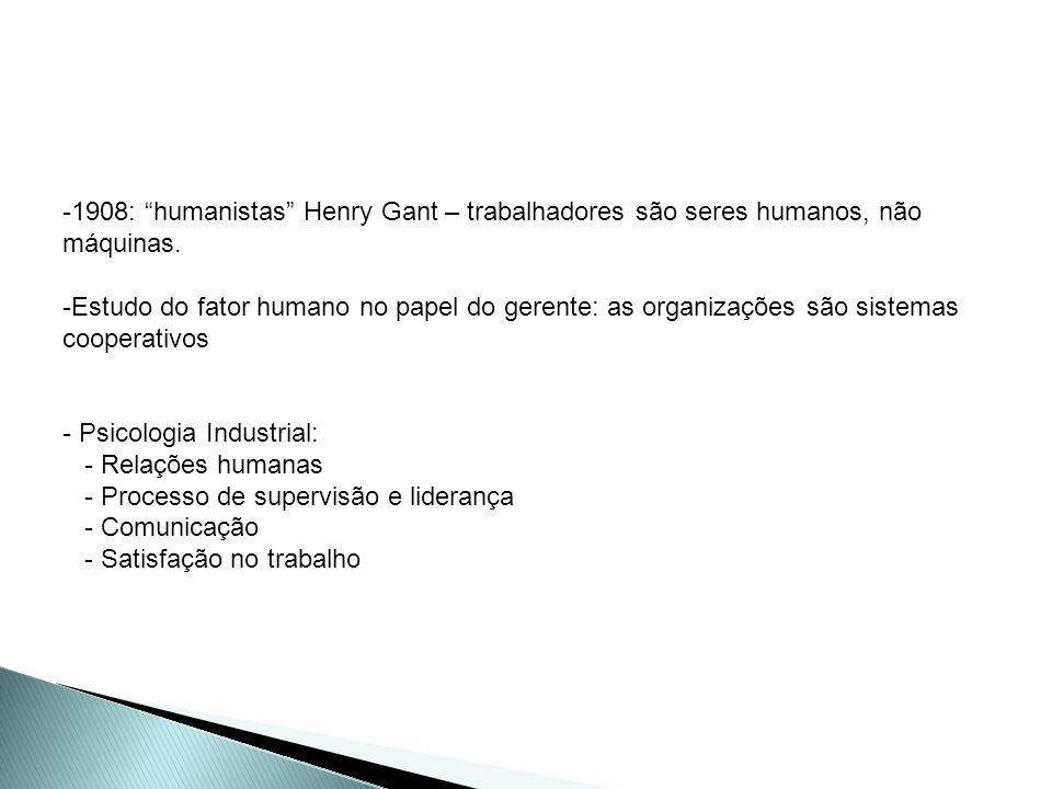 -1908: humanistas Henry Gant – trabalhadores são seres humanos, não máquinas. -Estudo do fator humano no papel do gerente: as organizações são sistema