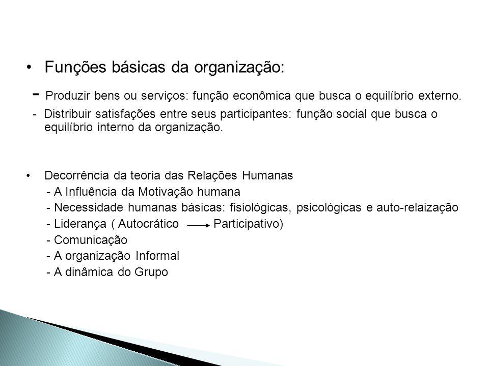 Funções básicas da organização: - Produzir bens ou serviços: função econômica que busca o equilíbrio externo. - Distribuir satisfações entre seus part