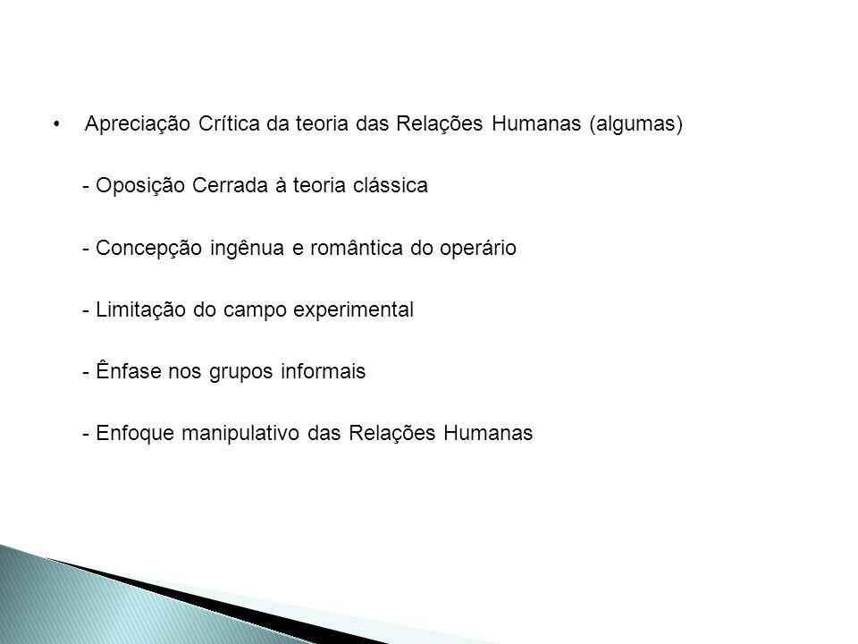 Apreciação Crítica da teoria das Relações Humanas (algumas) - Oposição Cerrada à teoria clássica - Concepção ingênua e romântica do operário - Limitaç