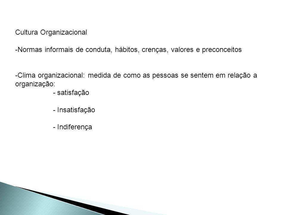 Cultura Organizacional -Normas informais de conduta, hábitos, crenças, valores e preconceitos -Clima organizacional: medida de como as pessoas se sent