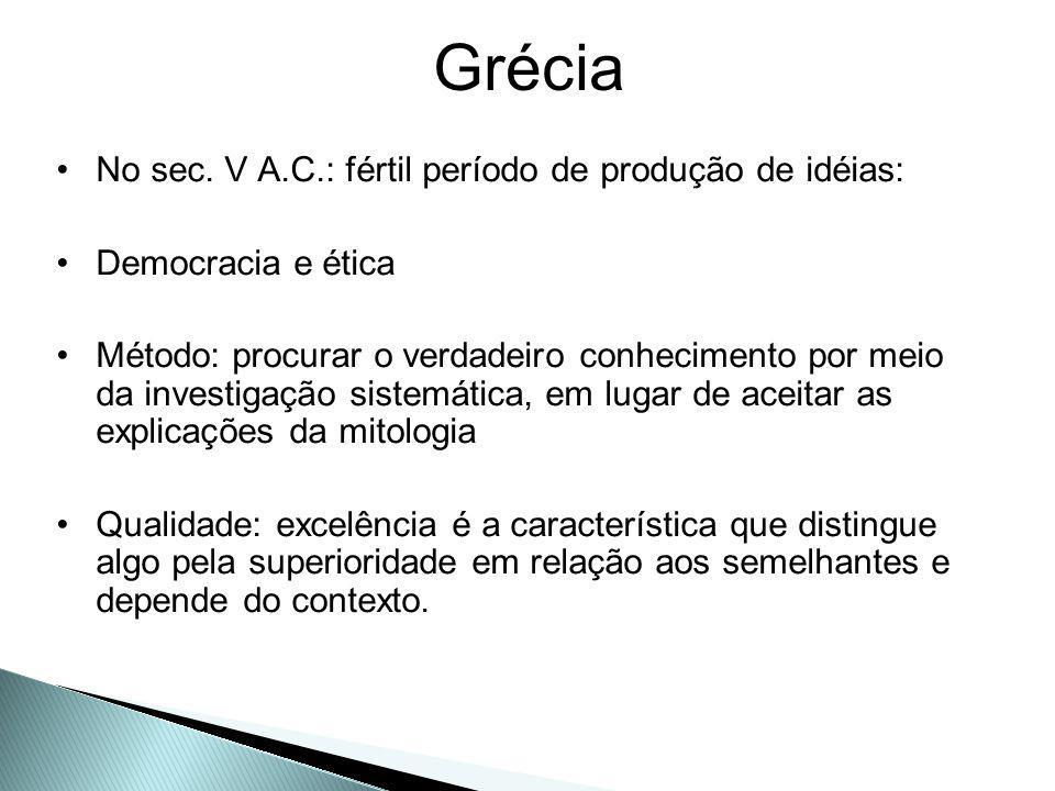 Grécia No sec. V A.C.: fértil período de produção de idéias: Democracia e ética Método: procurar o verdadeiro conhecimento por meio da investigação si