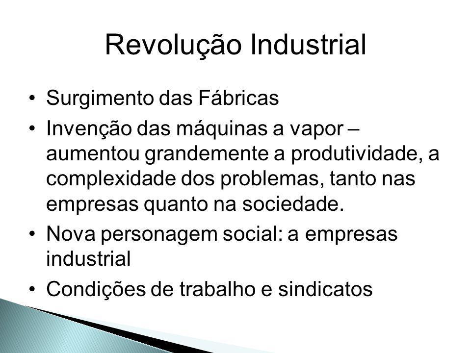 Revolução Industrial Surgimento das Fábricas Invenção das máquinas a vapor – aumentou grandemente a produtividade, a complexidade dos problemas, tanto