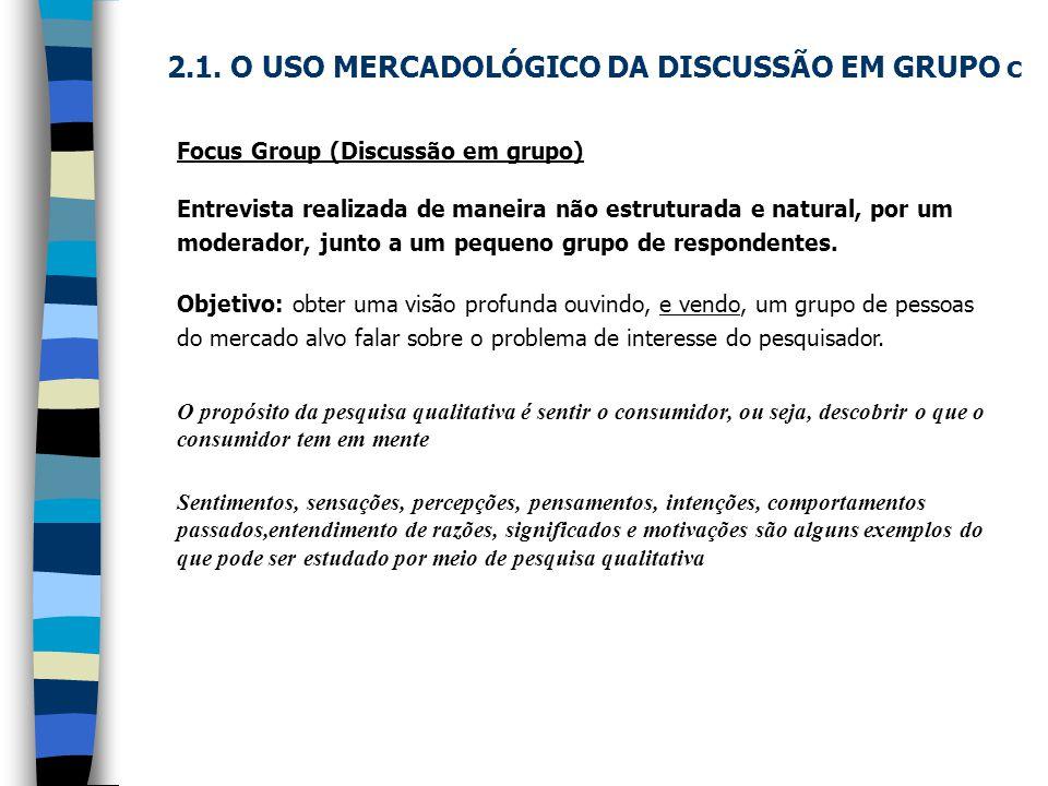 2.1. O USO MERCADOLÓGICO DA DISCUSSÃO EM GRUPO c Focus Group (Discussão em grupo) Entrevista realizada de maneira não estruturada e natural, por um mo