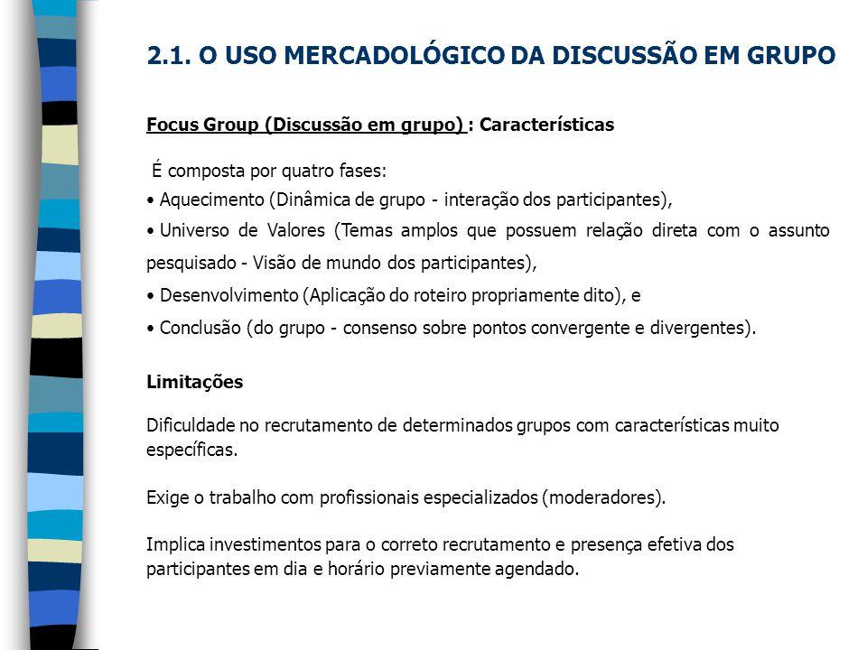 Focus Group (Discussão em grupo) : Características É composta por quatro fases: Aquecimento (Dinâmica de grupo - interação dos participantes), Univers