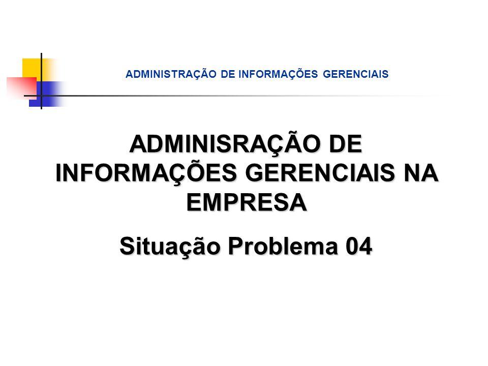 ADMINISRAÇÃO DE INFORMAÇÕES GERENCIAIS NA EMPRESA Situação Problema 04 ADMINISTRAÇÃO DE INFORMAÇÕES GERENCIAIS