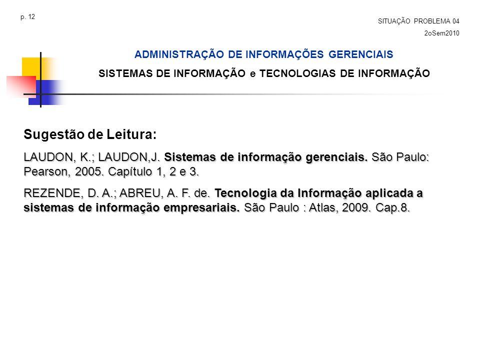 Sugestão de Leitura: LAUDON, K.; LAUDON,J. Sistemas de informação gerenciais. São Paulo: Pearson, 2005. Capítulo 1, 2 e 3. REZENDE, D. A.; ABREU, A. F