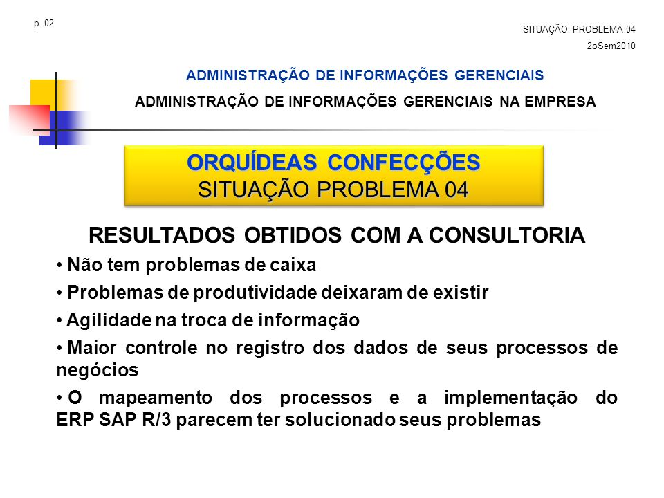 ORQUÍDEAS CONFECÇÕES SITUAÇÃO PROBLEMA 04 ORQUÍDEAS CONFECÇÕES SITUAÇÃO PROBLEMA 04 RESULTADOS OBTIDOS COM A CONSULTORIA Não tem problemas de caixa Pr