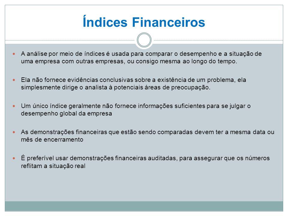 Índices Financeiros A análise por meio de índices é usada para comparar o desempenho e a situação de uma empresa com outras empresas, ou consigo mesma ao longo do tempo.