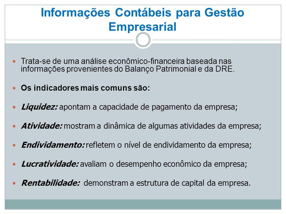 Informações Contábeis para Gestão Empresarial Trata-se de uma análise econômico-financeira baseada nas informações provenientes do Balanço Patrimonial e da DRE.