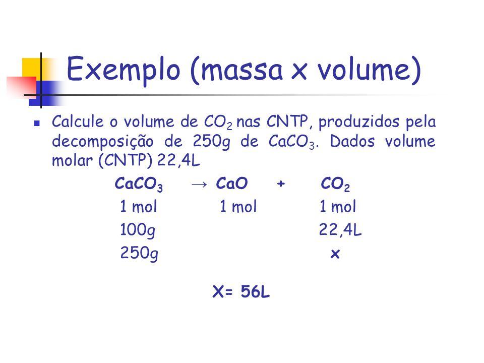 Exemplo (massa x volume) Calcule o volume de CO 2 nas CNTP, produzidos pela decomposição de 250g de CaCO 3. Dados volume molar (CNTP) 22,4L CaCO 3 CaO