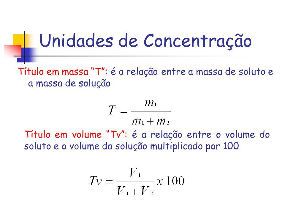 Unidades de Concentração Título em massa T: é a relação entre a massa de soluto e a massa de solução Título em volume Tv: é a relação entre o volume d