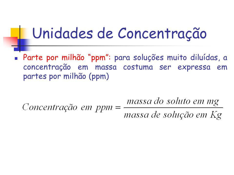 Unidades de Concentração Parte por milhão ppm: para soluções muito diluídas, a concentração em massa costuma ser expressa em partes por milhão (ppm)