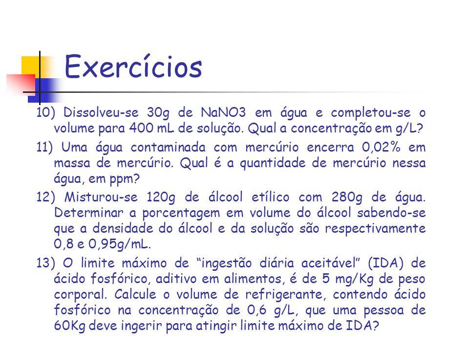 Exercícios 10) Dissolveu-se 30g de NaNO3 em água e completou-se o volume para 400 mL de solução. Qual a concentração em g/L? 11) Uma água contaminada