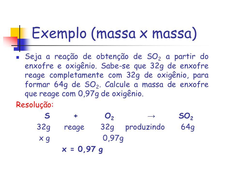 Exemplo (massa x massa) Seja a reação de obtenção de SO 2 a partir do enxofre e oxigênio. Sabe-se que 32g de enxofre reage completamente com 32g de ox
