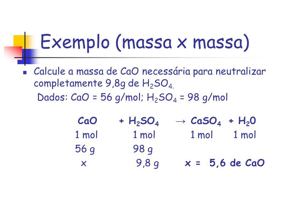 Exemplo (massa x massa) Calcule a massa de CaO necessária para neutralizar completamente 9,8g de H 2 SO 4. Dados: CaO = 56 g/mol; H 2 SO 4 = 98 g/mol