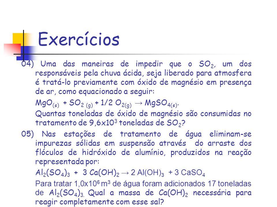 Exercícios 14) Qual é a massa de NaOH necessária para preparar 200 mL de solução aquosa 0,1 molar.