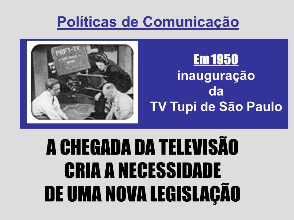 A CHEGADA DA TELEVISÃO CRIA A NECESSIDADE DE UMA NOVA LEGISLAÇÃO Em 1950 inauguração da TV Tupi de São Paulo Políticas de Comunicação