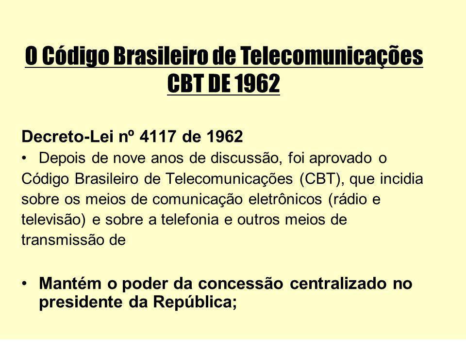 O Código Brasileiro de Telecomunicações CBT DE 1962 Decreto-Lei nº 4117 de 1962 Depois de nove anos de discussão, foi aprovado o Código Brasileiro de