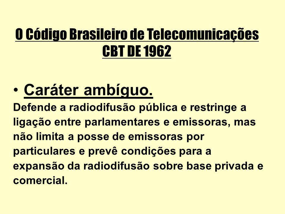 O Código Brasileiro de Telecomunicações CBT DE 1962 Caráter ambíguo. Defende a radiodifusão pública e restringe a ligação entre parlamentares e emisso