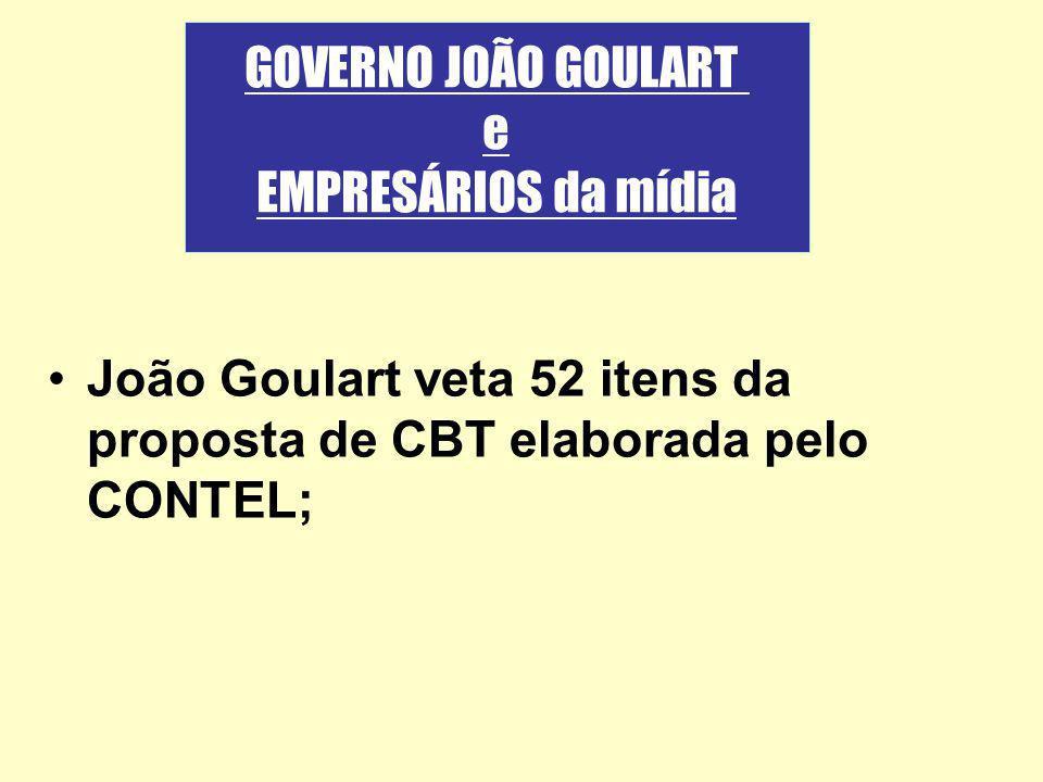 João Goulart veta 52 itens da proposta de CBT elaborada pelo CONTEL; GOVERNO JOÃO GOULART e EMPRESÁRIOS da mídia