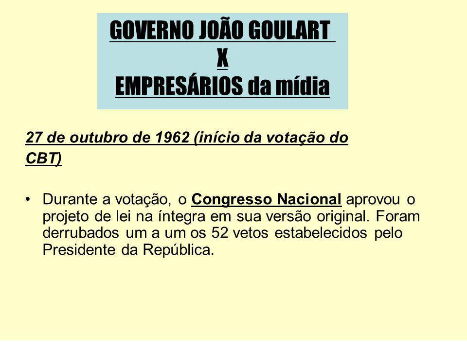 27 de outubro de 1962 (início da votação do CBT) Durante a votação, o Congresso Nacional aprovou o projeto de lei na íntegra em sua versão original. F