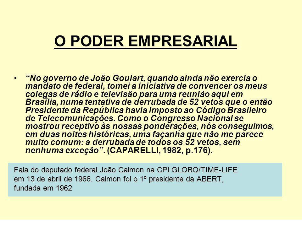 No governo de João Goulart, quando ainda não exercia o mandato de federal, tomei a iniciativa de convencer os meus colegas de rádio e televisão para u
