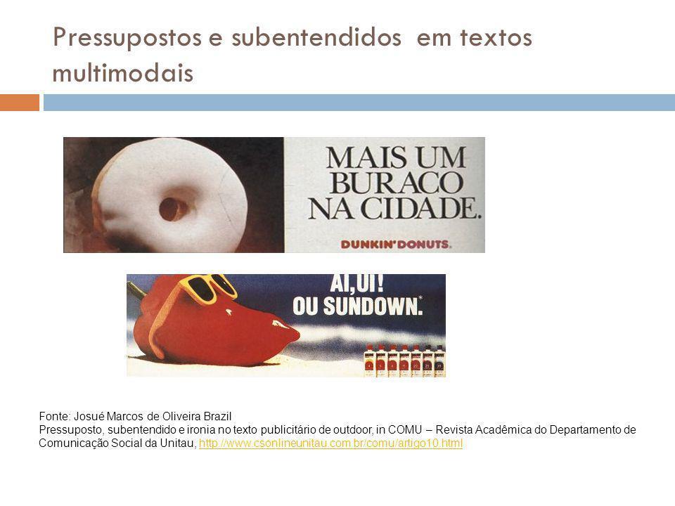 Pressupostos e subentendidos em textos multimodais Fonte: Josué Marcos de Oliveira Brazil Pressuposto, subentendido e ironia no texto publicitário de