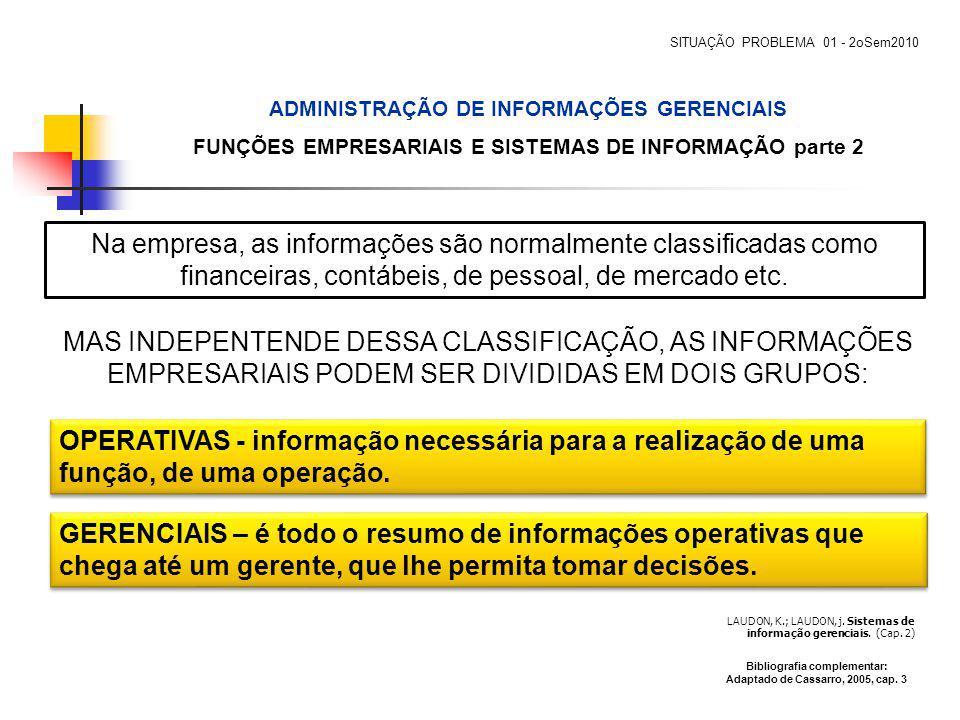 LAUDON, K.; LAUDON, j. Sistemas de informação gerenciais. (Cap. 2) MAS INDEPENTENDE DESSA CLASSIFICAÇÃO, AS INFORMAÇÕES EMPRESARIAIS PODEM SER DIVIDID