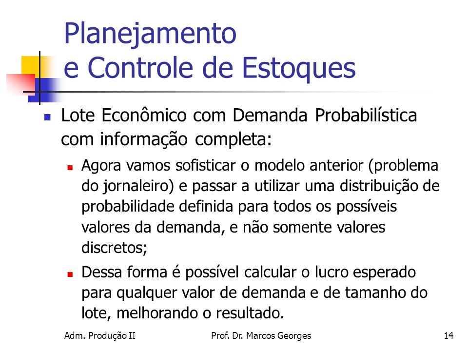 Adm. Produção IIProf. Dr. Marcos Georges14 Planejamento e Controle de Estoques Lote Econômico com Demanda Probabilística com informação completa: Agor