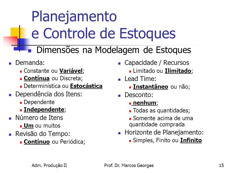 Adm. Produção IIProf. Dr. Marcos Georges15 Planejamento e Controle de Estoques Demanda: Constante ou Variável; Contínua ou Discreta; Determinística ou