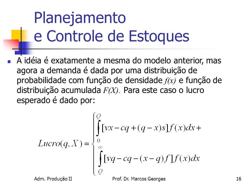 Adm. Produção IIProf. Dr. Marcos Georges16 Planejamento e Controle de Estoques A idéia é exatamente a mesma do modelo anterior, mas agora a demanda é