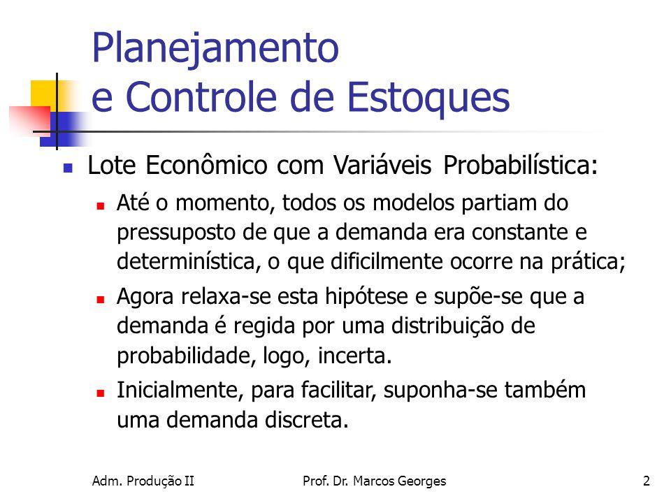 Adm. Produção IIProf. Dr. Marcos Georges2 Planejamento e Controle de Estoques Lote Econômico com Variáveis Probabilística: Até o momento, todos os mod