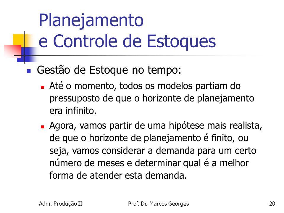 Adm. Produção IIProf. Dr. Marcos Georges20 Planejamento e Controle de Estoques Gestão de Estoque no tempo: Até o momento, todos os modelos partiam do