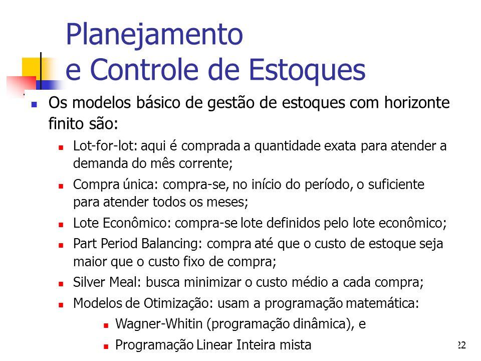 Adm. Produção IIProf. Dr. Marcos Georges22 Planejamento e Controle de Estoques Os modelos básico de gestão de estoques com horizonte finito são: Lot-f