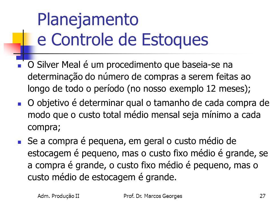 Adm. Produção IIProf. Dr. Marcos Georges27 Planejamento e Controle de Estoques O Silver Meal é um procedimento que baseia-se na determinação do número