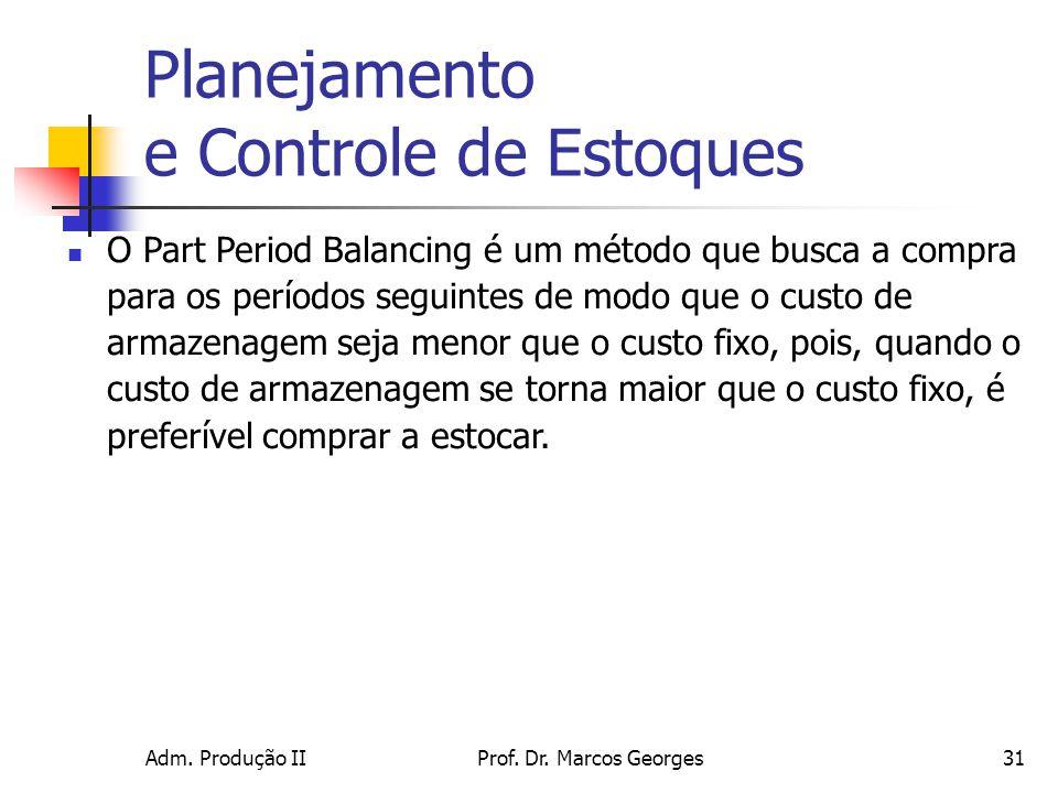 Adm. Produção IIProf. Dr. Marcos Georges31 Planejamento e Controle de Estoques O Part Period Balancing é um método que busca a compra para os períodos