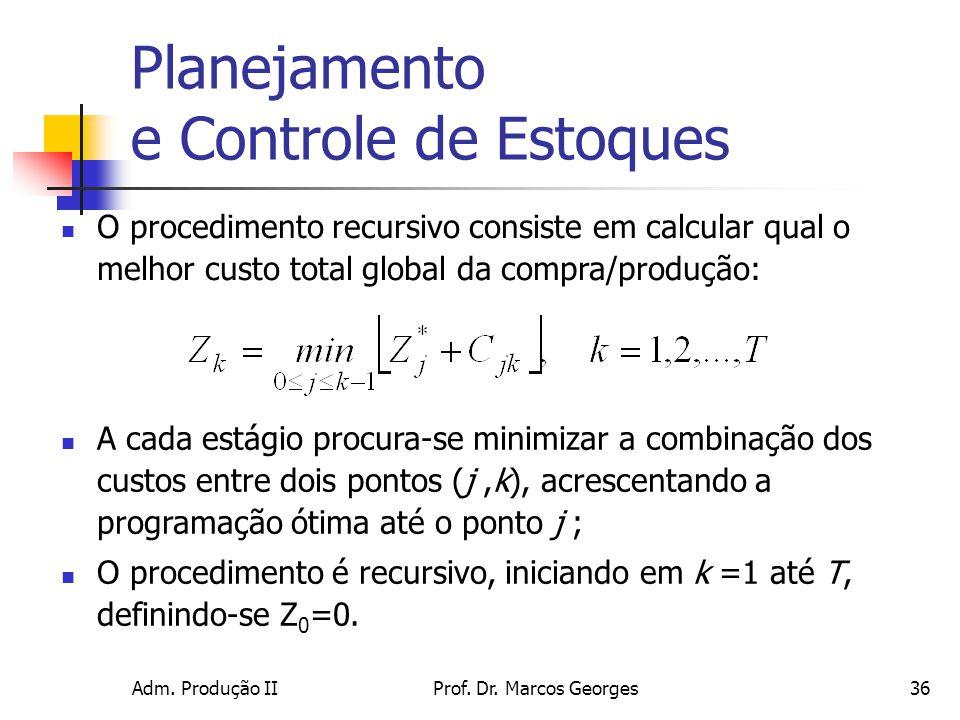 Adm. Produção IIProf. Dr. Marcos Georges36 Planejamento e Controle de Estoques O procedimento recursivo consiste em calcular qual o melhor custo total
