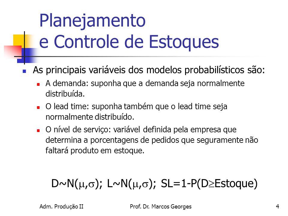 Adm. Produção IIProf. Dr. Marcos Georges4 Planejamento e Controle de Estoques As principais variáveis dos modelos probabilísticos são: A demanda: supo