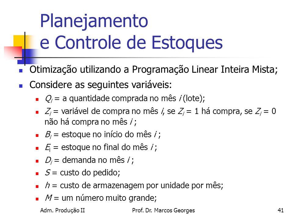 Adm. Produção IIProf. Dr. Marcos Georges41 Planejamento e Controle de Estoques Otimização utilizando a Programação Linear Inteira Mista; Considere as