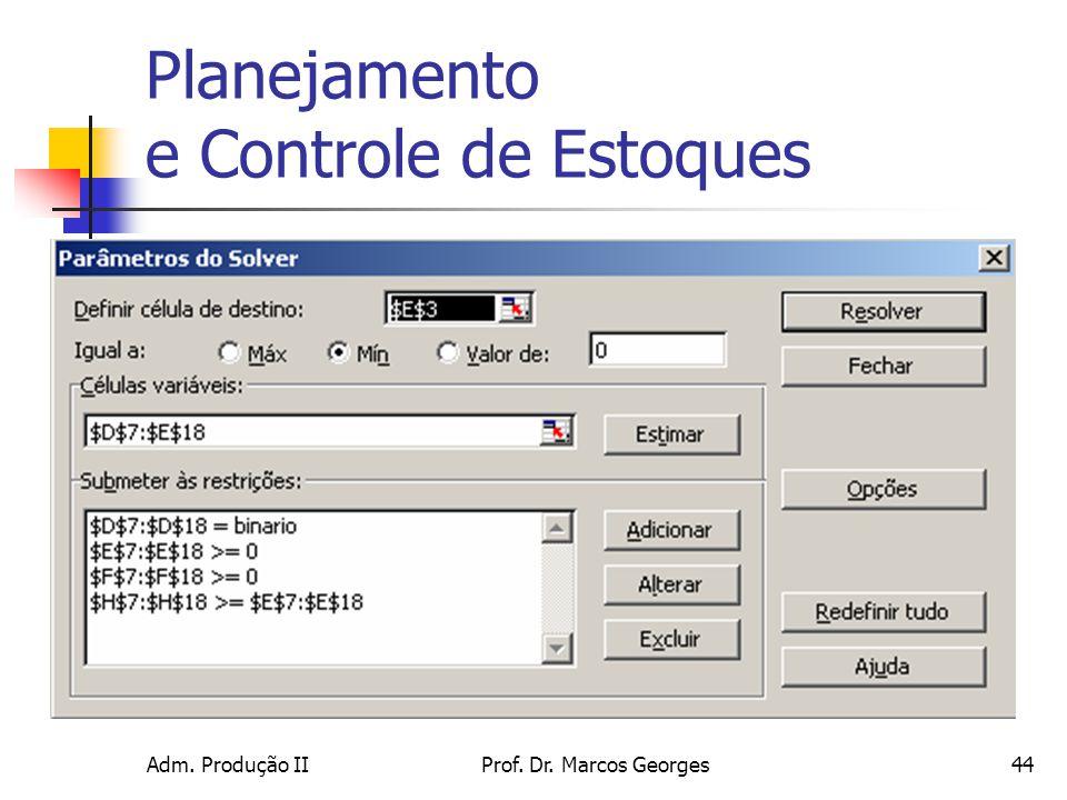 Adm. Produção IIProf. Dr. Marcos Georges44 Planejamento e Controle de Estoques