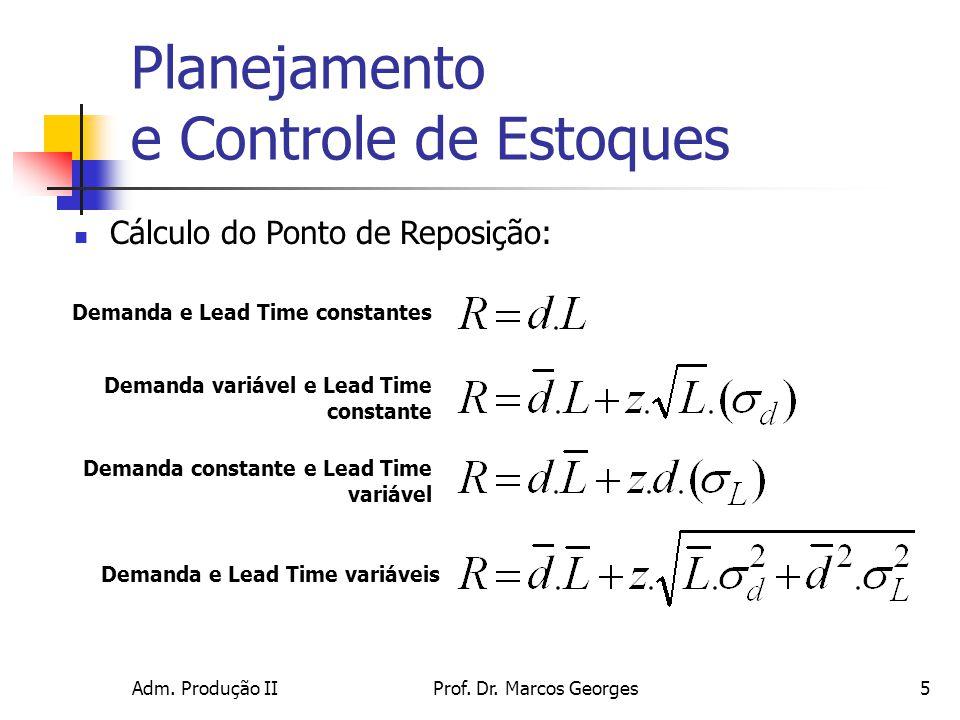 Adm. Produção IIProf. Dr. Marcos Georges5 Planejamento e Controle de Estoques Cálculo do Ponto de Reposição: Demanda e Lead Time constantes Demanda va