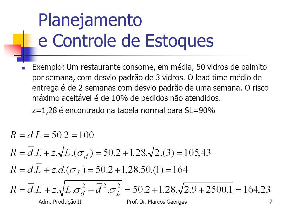 Adm. Produção IIProf. Dr. Marcos Georges7 Planejamento e Controle de Estoques Exemplo: Um restaurante consome, em média, 50 vidros de palmito por sema