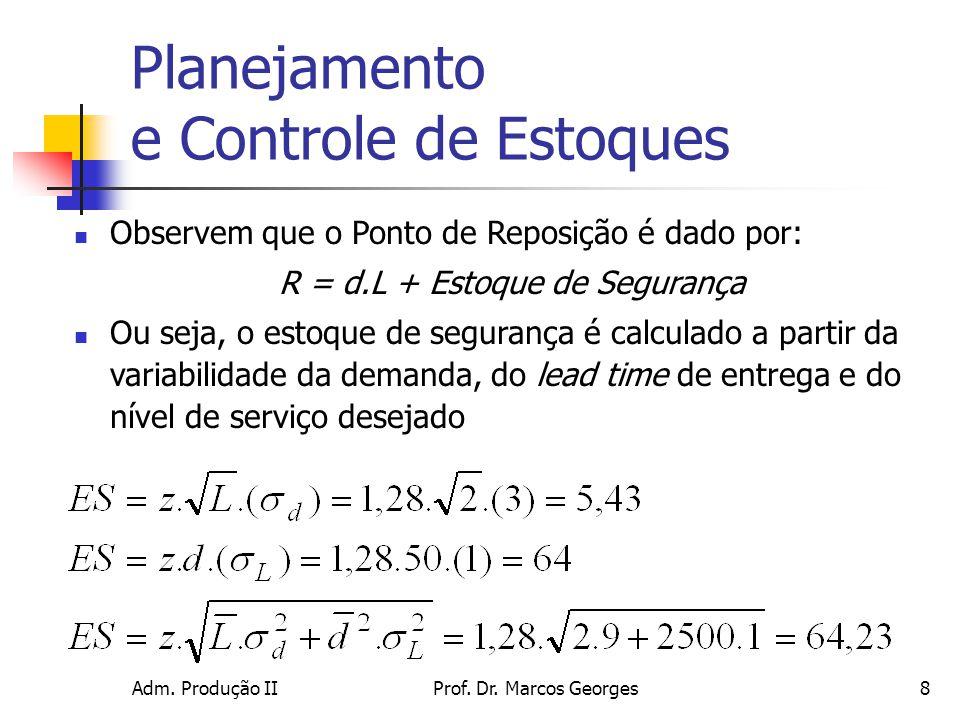 Adm. Produção IIProf. Dr. Marcos Georges8 Planejamento e Controle de Estoques Observem que o Ponto de Reposição é dado por: R = d.L + Estoque de Segur