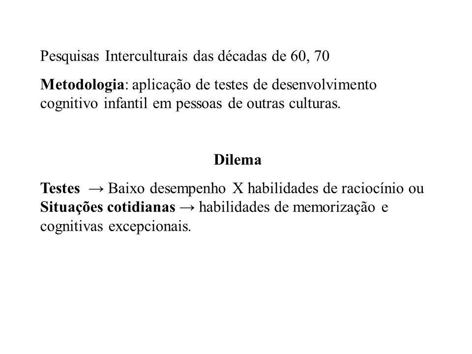 Pesquisas Interculturais das décadas de 60, 70 Metodologia: aplicação de testes de desenvolvimento cognitivo infantil em pessoas de outras culturas.